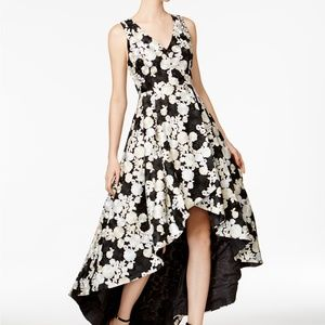 Calvin Klein Embroidered Floral High Low Gown
